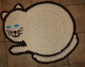 Crocheted Cat Rug  Cream and Brown Floor Rug, Child's Room, Wall Hanging