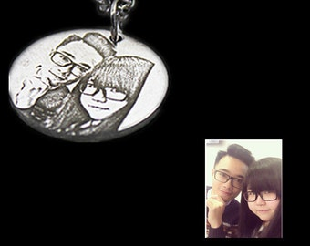 Custom Lovers Necklace, Custom Portrait, Sterling Silver Necklace, Personalized Pendant, Special Gift