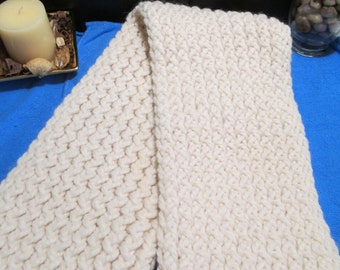 Children's Off White Scarf/Scarf/Child's Scarf/Child's Winter Wear/Winter Wear/Off White Scarf/Loom Knitted Scarf