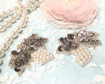 Vintage Applique/Shabby Chic Appliques/VA0021/Grapes Appliques/Silver Appliques/Wedding Decor/Bridal Appliques/Sewing Supplies/Craft Supply