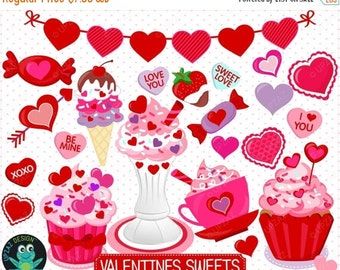 75% OFF SALE Valentines Day Clipart, Valentines Candy Clipart, Cupcake Clipart, Hearts Clipart - UZ870