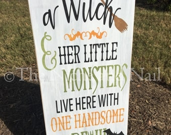 A Witch And Her Little Monsters, Halloween Wood Sign, Halloween Decor, Fall Sign, Halloween Sign
