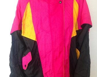 90s vintage windbreaker, pink, yellow and black colorblock windbreaker
