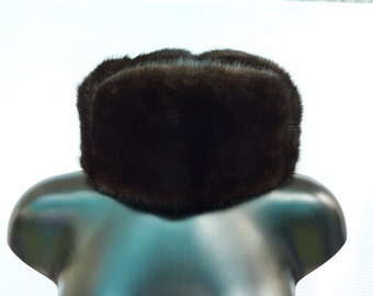 Brown toque - vintage Hat - mink fur hat - vintage Trapper Hat - real mink fur brown hat - 80s.
