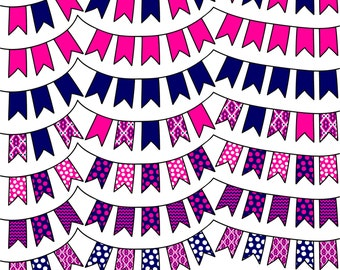 Pink and Navy Digital Bunting - Clipart - Commercial Use - Clip Art Graphics - Pink - Navy - Scrapbooking Flags