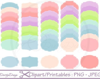 Frames Set Clipart Stitched Labels, Clip Art set Frames, Labels, Stitched Frames Watercolor, Scrapbook Frames, Digital Clipart Frames Tag