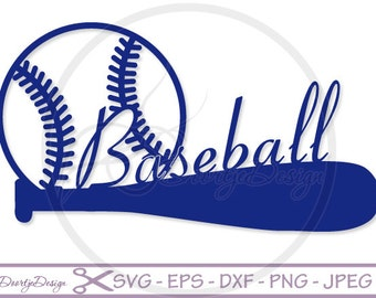 Baseball and Bat SVG cutting files, SVG files Baseball, silhouette DXF files, Vinyl cut, cricut baseball, Silhouette files, Scan and Cut