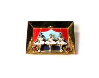Vintage 30's Ballerina Swan Lake Pin, 3 Dimensional Scene, Shadow Box Diorama, Book Piece