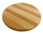 Round, Kitchen trivet, serving board, cutting board, 8 in round, 5/8 in thick, maple, oak, ash with cherry accent