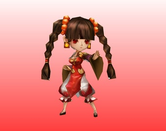 Kung fu girl (Summoners wars) papercraft template