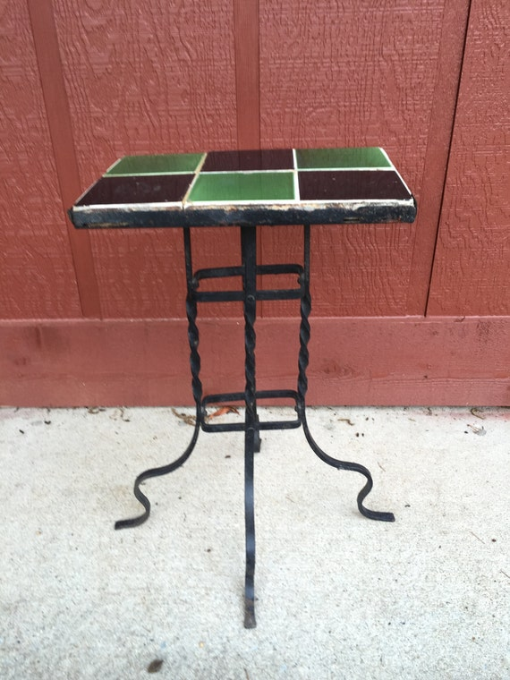 Vintage Wrought Iron Table Tile Top Twisted Legs