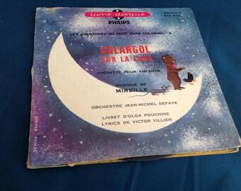 ANTIQUE book disk Colargol on Moon 45 tours vintage