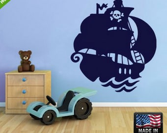 Pirate ship wall decal pirate ship wall sticker giant pirate ship wall decal pirate ship wall decal (Z103)