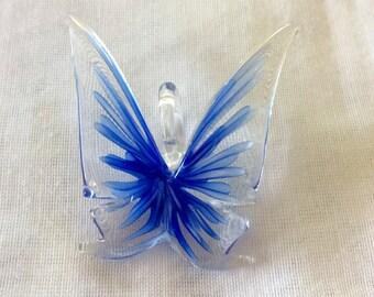 Blue Butterfly  Lampwork Glass Pendant