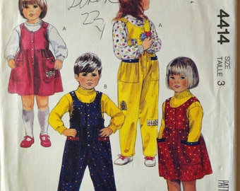 Uncut 1980s McCall's Vintage Sewing Pattern 4414, Size 3; Children's Jumper, Jumpsuit and Tops