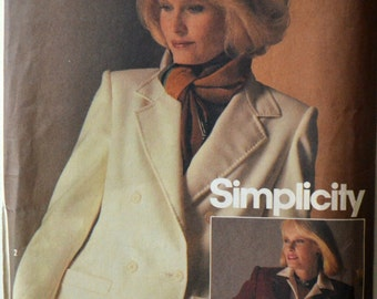 Uncut 1980s Simplicity Connoisseur Vintage Sewing Pattern 6584; Size 10; Misses' Single and Double Breasted Lined Jacket