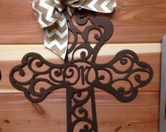Scroll Work Cross with Initial