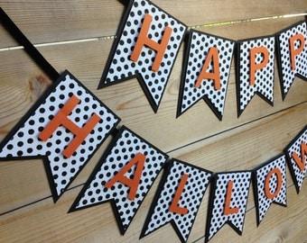 Happy Halloween Banner- Halloween Banner- Black, White and Orange Halloween Banner- Halloween Party Decorations