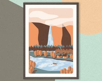 Boat Scene Illustration Print
