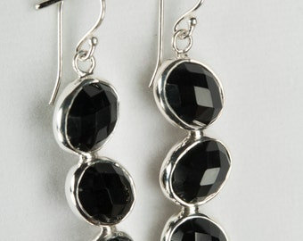 B001-009-002 Handmade Sterling Silver Hoop Earrings Black Garnet January Birthstone