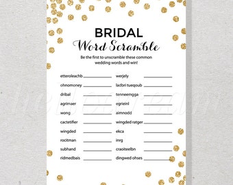 Gold Glitter Confetti Bridal Word Scramble Game, Word Search, Fun Bridal Shower Game, Gold Theme - SKUHDG14