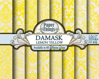 Digital Lemon Yellow Damask Paper, Yellow Scrapbook Paper, Yellow Damask Digital Scrapbook Paper 12x12, Digital Download 12 x 12 Pattern