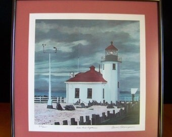 Alki Point Lighthouse, Signed and Numbered Framed Print by Carol Thompson