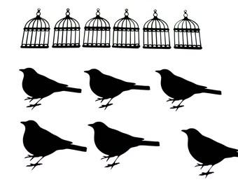 Bird and house silhouette, Bird die cuts, Bird cutouts