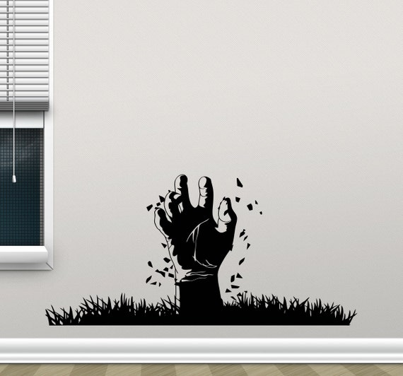 Zombie hand wall decal the walking dead vinyl by crazydecals for Mural walking dead