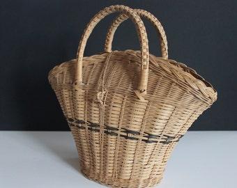 Vintage Woven Straw Basket Purse