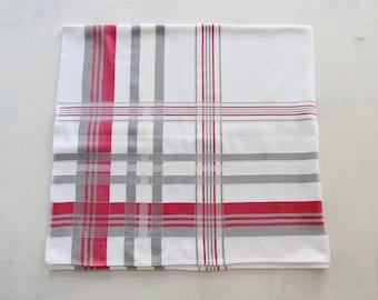 Vintage Red and Gray Striped Cotton Square Tablecloth
