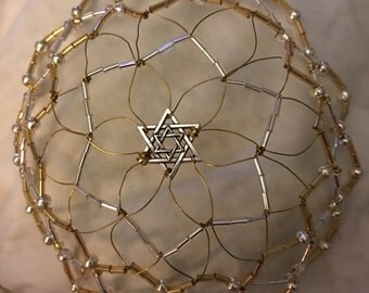 Gold and Silver Kippah