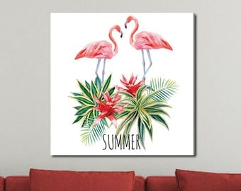 Flamingo and Tropical Plants, Tropical Watercolor Gallery-Wrapped Canvas