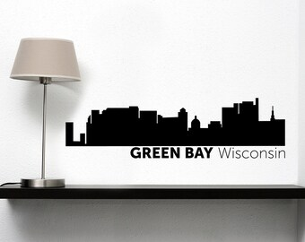 Green Bay City Skyline Vinyl Decal
