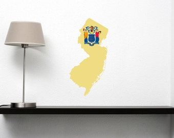 New Jersey State Vinyl Wall Decal with the New Jersey Flag in the Shape of the State of New Jersey