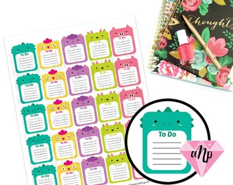 """Printable Kawaii Animal """"To Do"""" List Label Planner Stickers"""