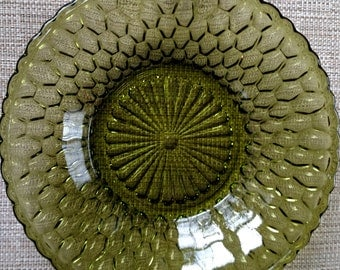 Green Honeycomb Candy Dish - Vintage Indiana Glass Co