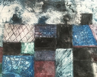 Original abstract collagraph print