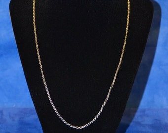 """9.5g Solid Silver Twister Rope Chain with Some Dark Patina 20"""" Sterling Necklace"""