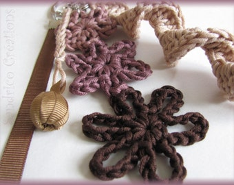 Pretty Keychain beige and Brown knitted hand crochet pure cotton flower and Ribbon