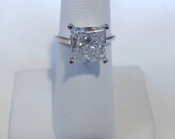 6.50 ct. Princess Cut Solitare 14k white Gold  Engagement, Wedding Ring With Free Gift