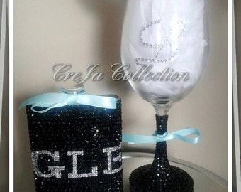 Custom Wine Glass, Custom Flask, Bling Wine Glass, Bling Flask, Bridal Flask, Girl Flask, Pimp Cup