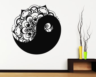 Yin yang decal etsy for Decoration murale yin yang