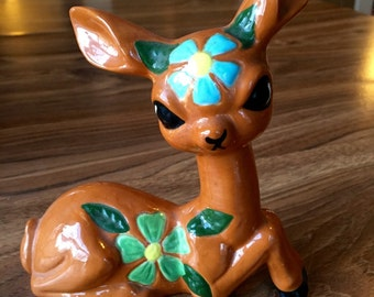 Kitsch 1970's Ceramic Deer with flowers