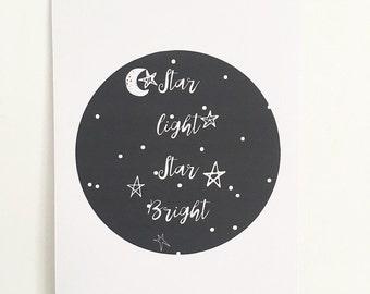 Star light star bright nursery print.