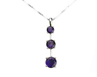 925 sterling silver rhodium necklace set with 3 natural amethysts - classic style