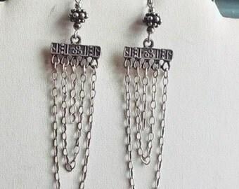 """ARTISAN Sterling Silver multi chain Swag Chandelier BALI 4"""" Earrings"""