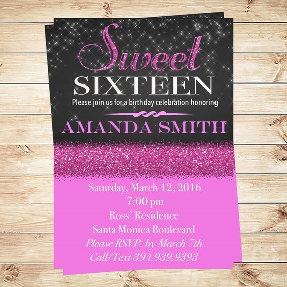 It's just a picture of Playful Sweet 16 Birthday Invitations Free Printable