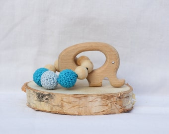 Teether/Rattle with elephant