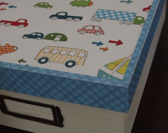 Baby Boy Keepsake Box with Planes, Trains and Automobiles! Kids room storage, memory box, Baby Shower gift, Birthday gift, Boy room decor